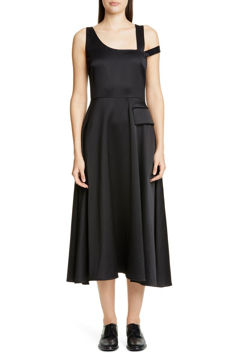 PARTOW Nia One-Shoulder Bonded Satin Midi Dress, Main, color, BLACK