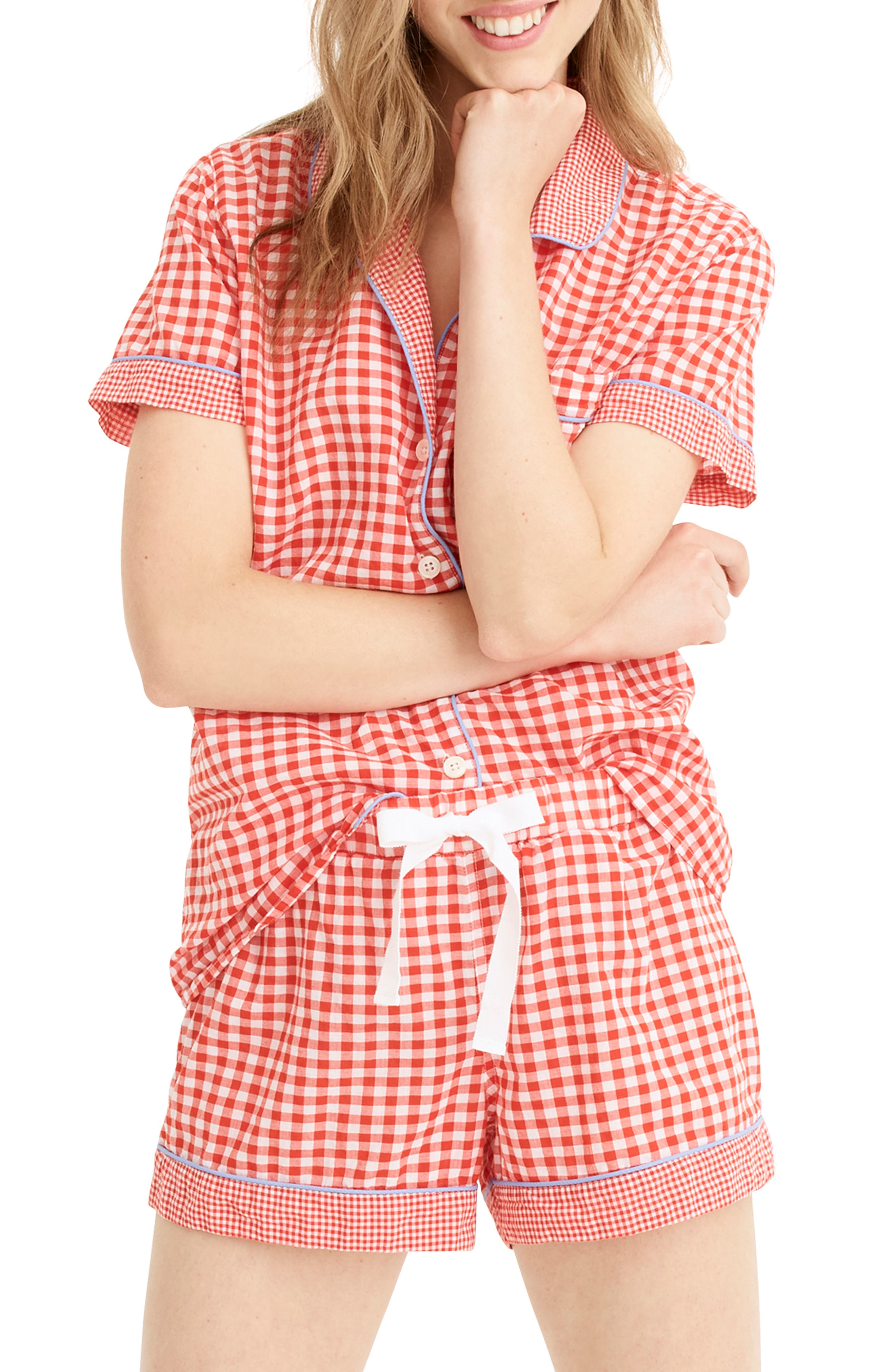 Plus Size J.crew Mixed Gingham Cotton Pajama Shorts, Red