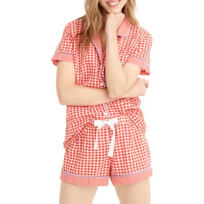 J.crew Mixed Gingham Cotton Pajama Shorts