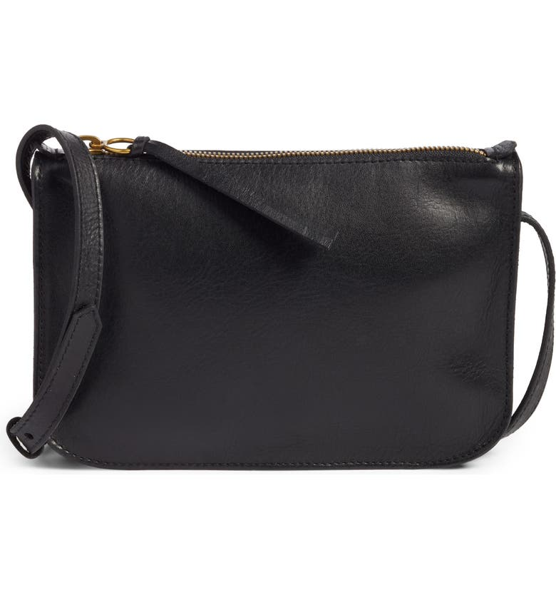 MADEWELL The Simple Leather Crossbody Bag, Main, color, TRUE BLACK