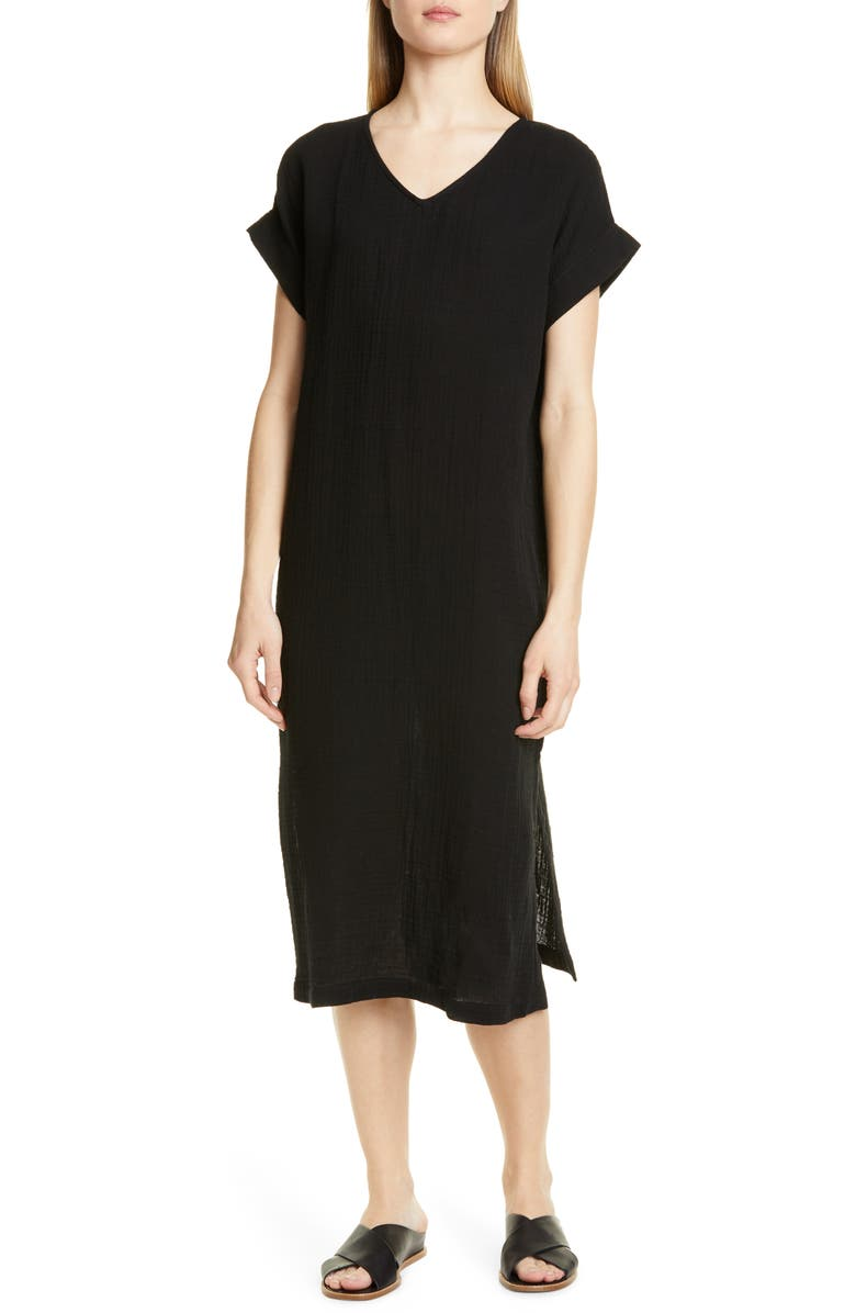EILEEN FISHER Organic Cotton Midi Dress, Main, color, BLACK
