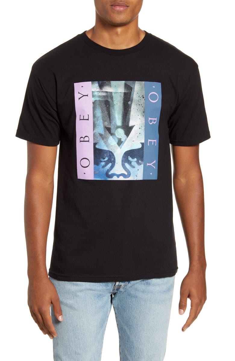 OBEY Arrow Stencil Crewneck T-Shirt, Main, color, BLACK