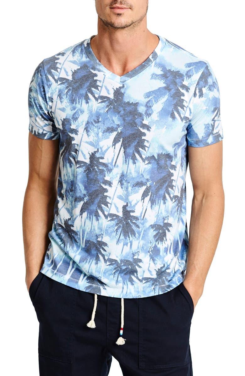 SOL ANGELES Aqua Mirage V-Neck T-Shirt, Main, color, AQUA MIRAGE
