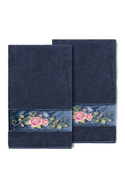 Image of LINUM HOME Midnight Blue Rebecca Embellished Bath Towel - Set of 2