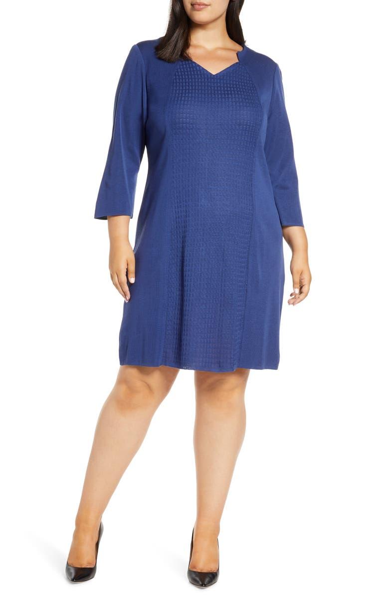 MING WANG Multi Stitch Sweater Dress, Main, color, SPECTRUM BLUE