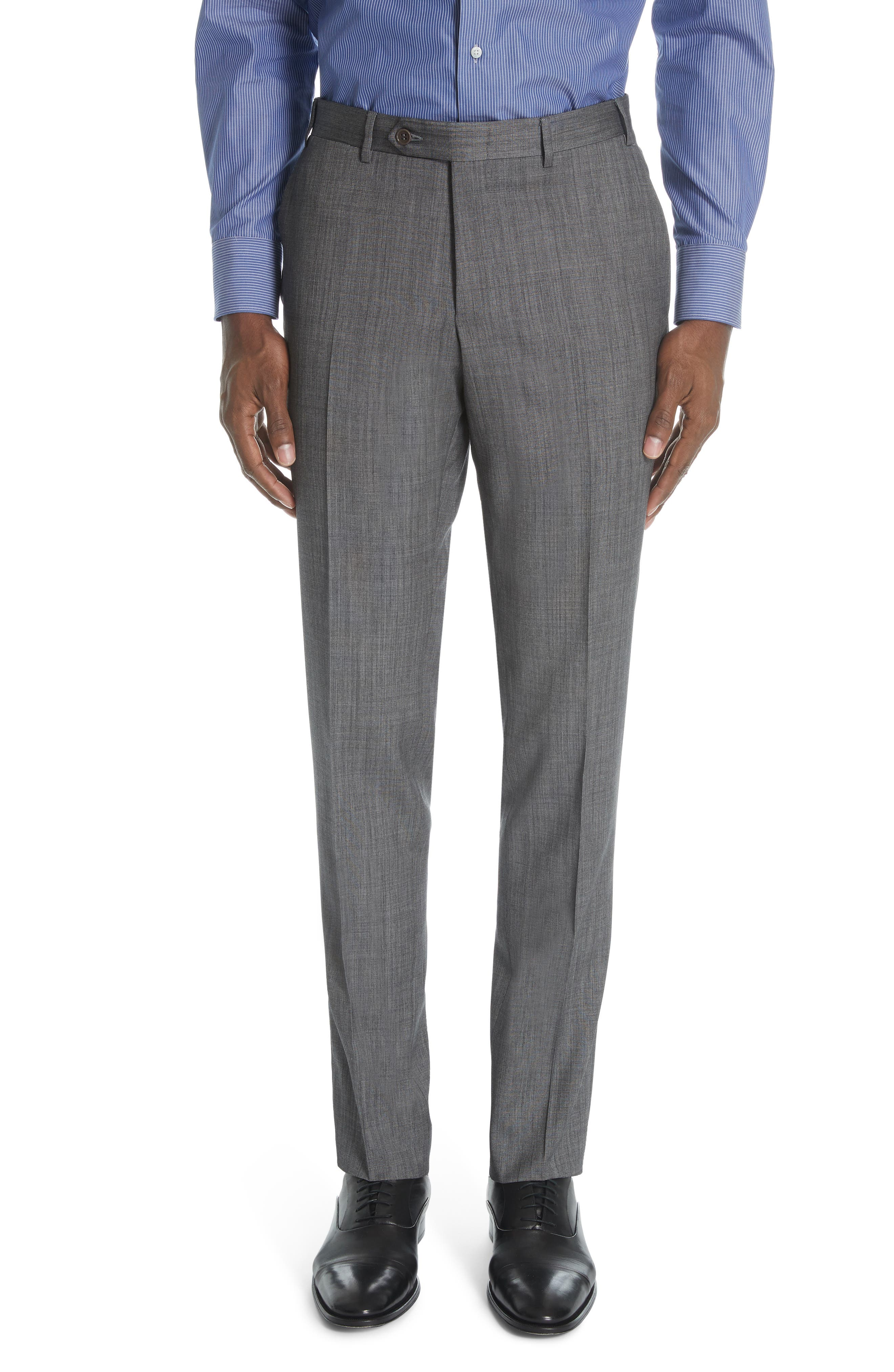 ,                             Milano Classic Fit Solid Wool & Silk Suit,                             Alternate thumbnail 5, color,                             DARK GREY