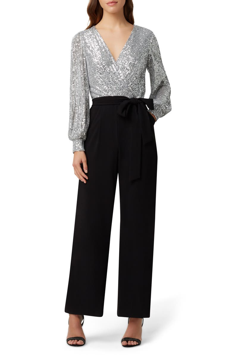 TAHARI Sequin Long Sleeve Jumpsuit, Main, color, 009