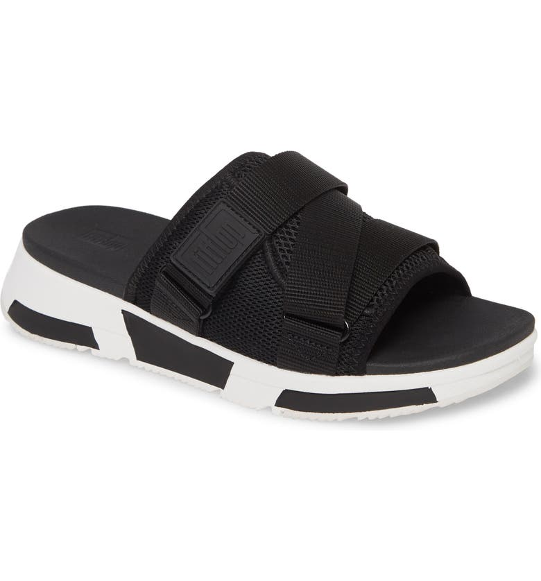 FITFLOP Alyssa Slide Sandal, Main, color, BLACK MIX FABRIC