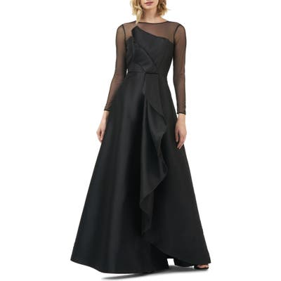 Kay Unger Adele Long Sleeve Applique Gown, Black