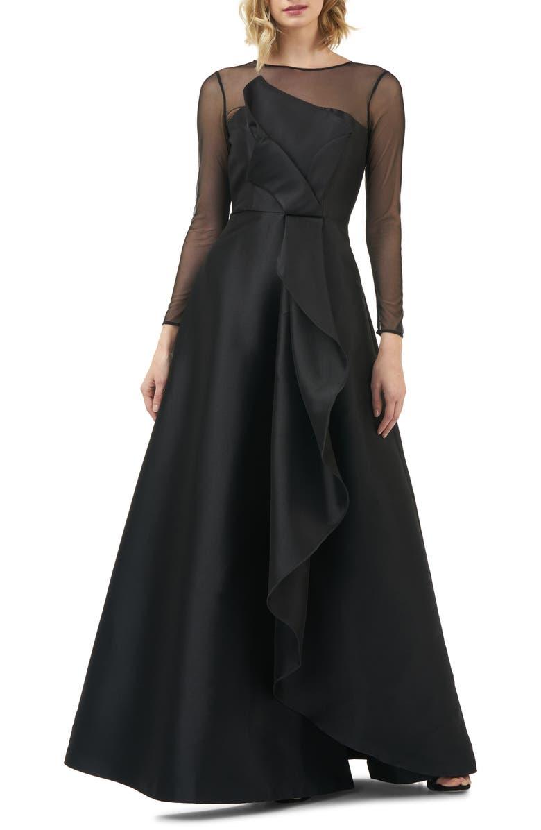 KAY UNGER Adele Long Sleeve Appliqué Gown, Main, color, 001