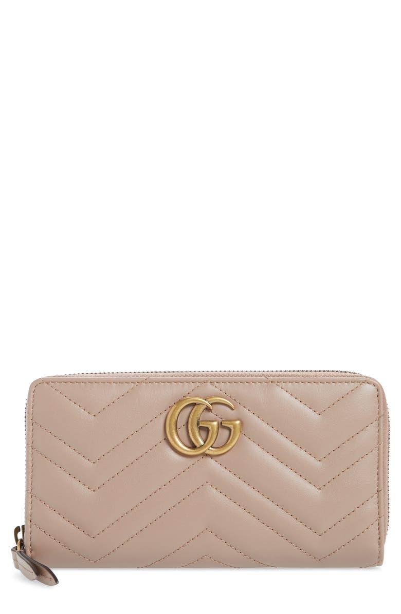 GUCCI GG 2.0 Matelassé Leather Zip Around Wallet, Main, color, PORCELAIN ROSE