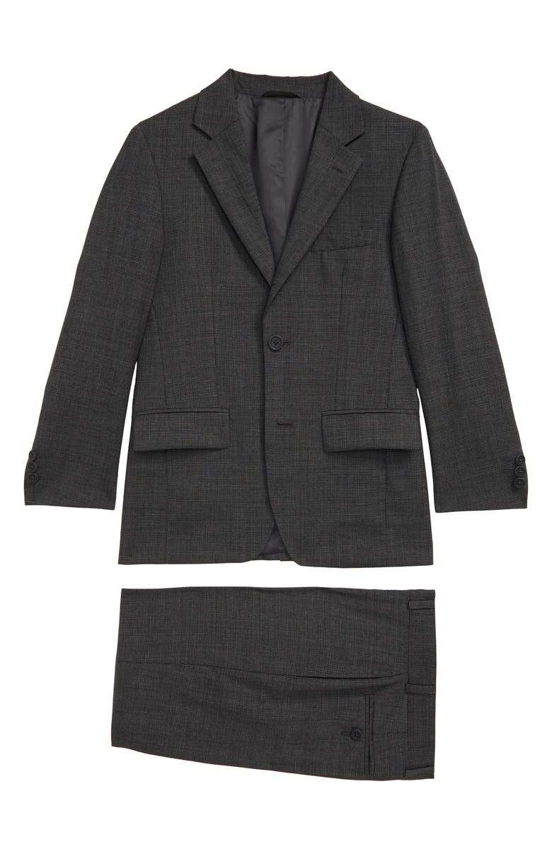 JB JR. Houndstooth Wool Suit, Main, color, CHARCOAL