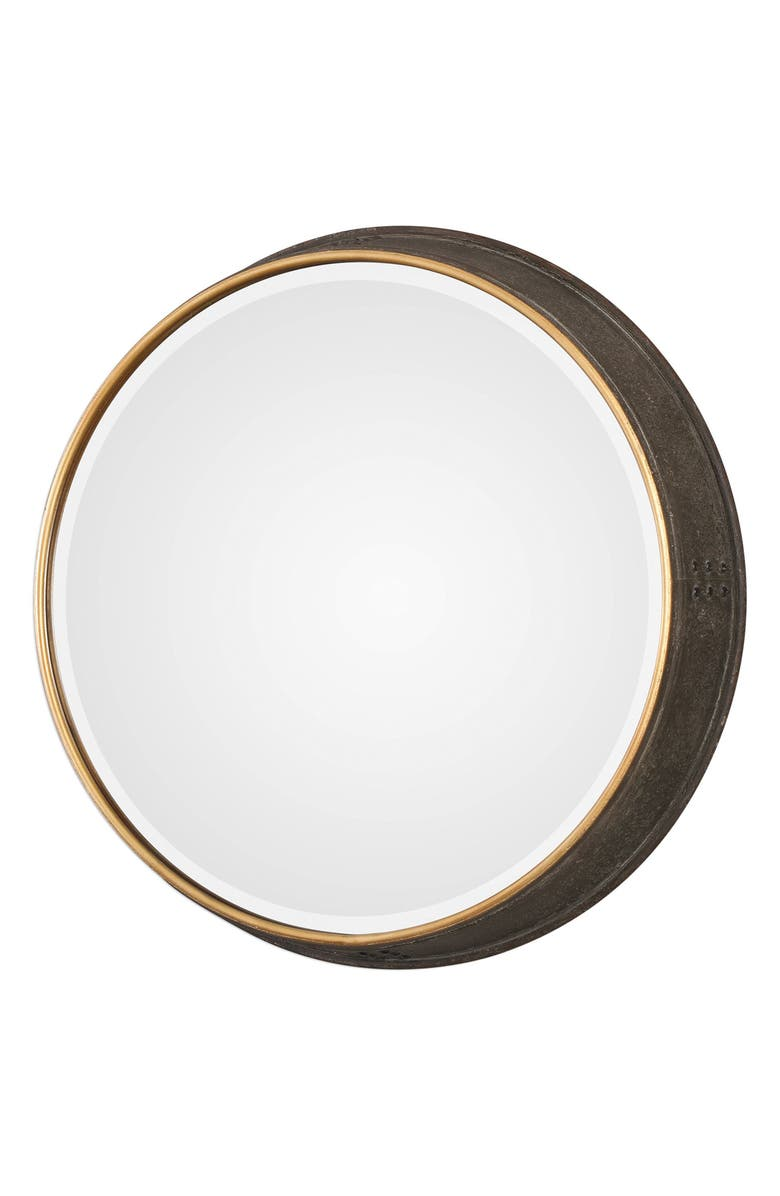 UTTERMOST Sturdivant Antiqued Gold Round Mirror, Main, color, ANTIQUED GOLD WITH BRONZE WASH