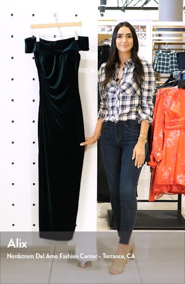 Off the Shoulder Velvet Gown, sales video thumbnail