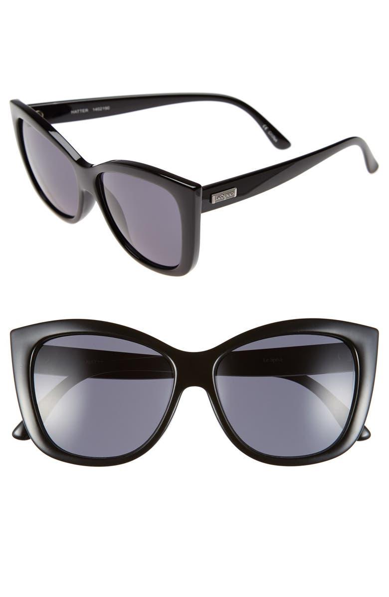 LE SPECS 'Hatter' 57mm Cat Eye Sunglasses, Main, color, 001