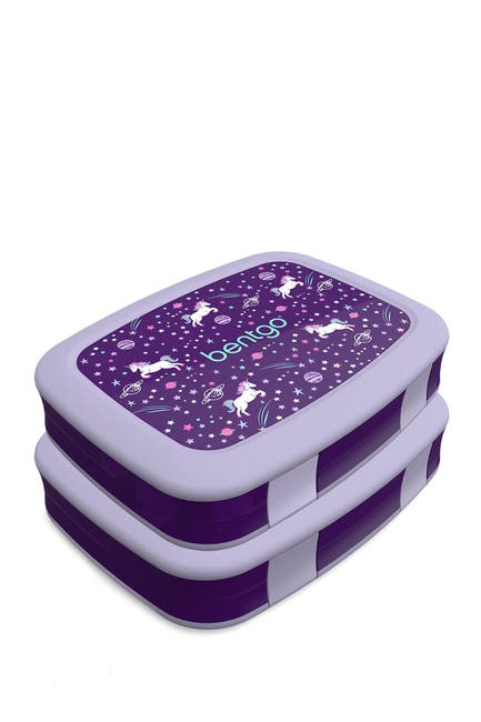 Image of BENTGO 2-Pack of Kids Prints Leak-Proof 5-Compartment Bento-Style Lunch Box - Unicorn