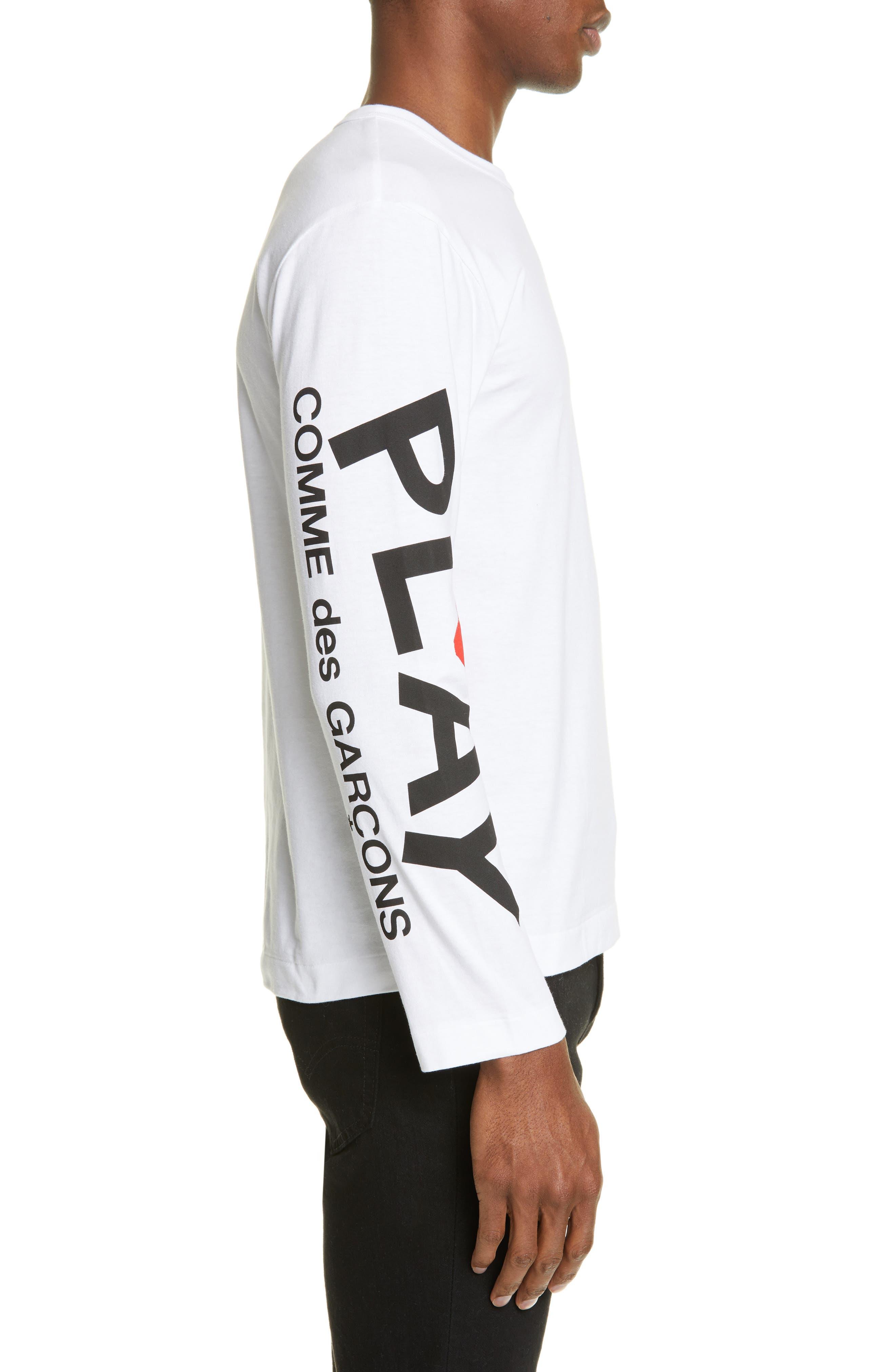 ,                             PLAY Logo Long Sleeve T-Shirt,                             Alternate thumbnail 3, color,                             WHITE