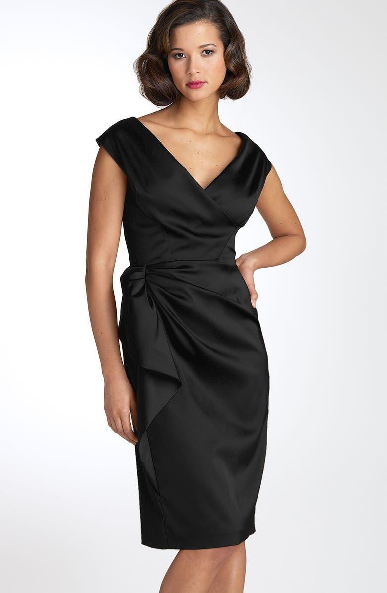MAGGY LONDON Stretch Satin Sheath Dress, Main, color, 001