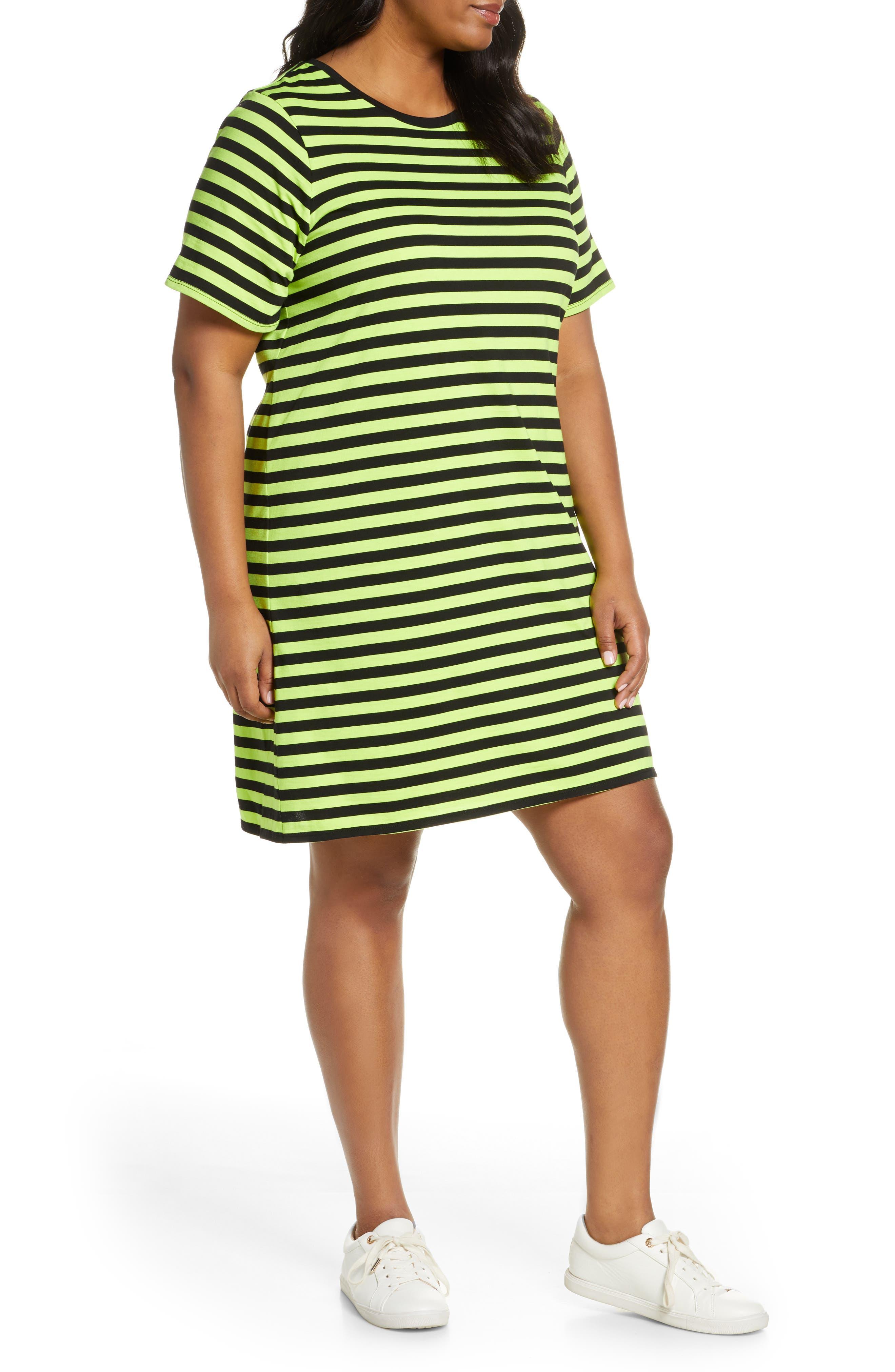 Plus Size Michael Michael Kors Stripe T-Shirt Dress, Black
