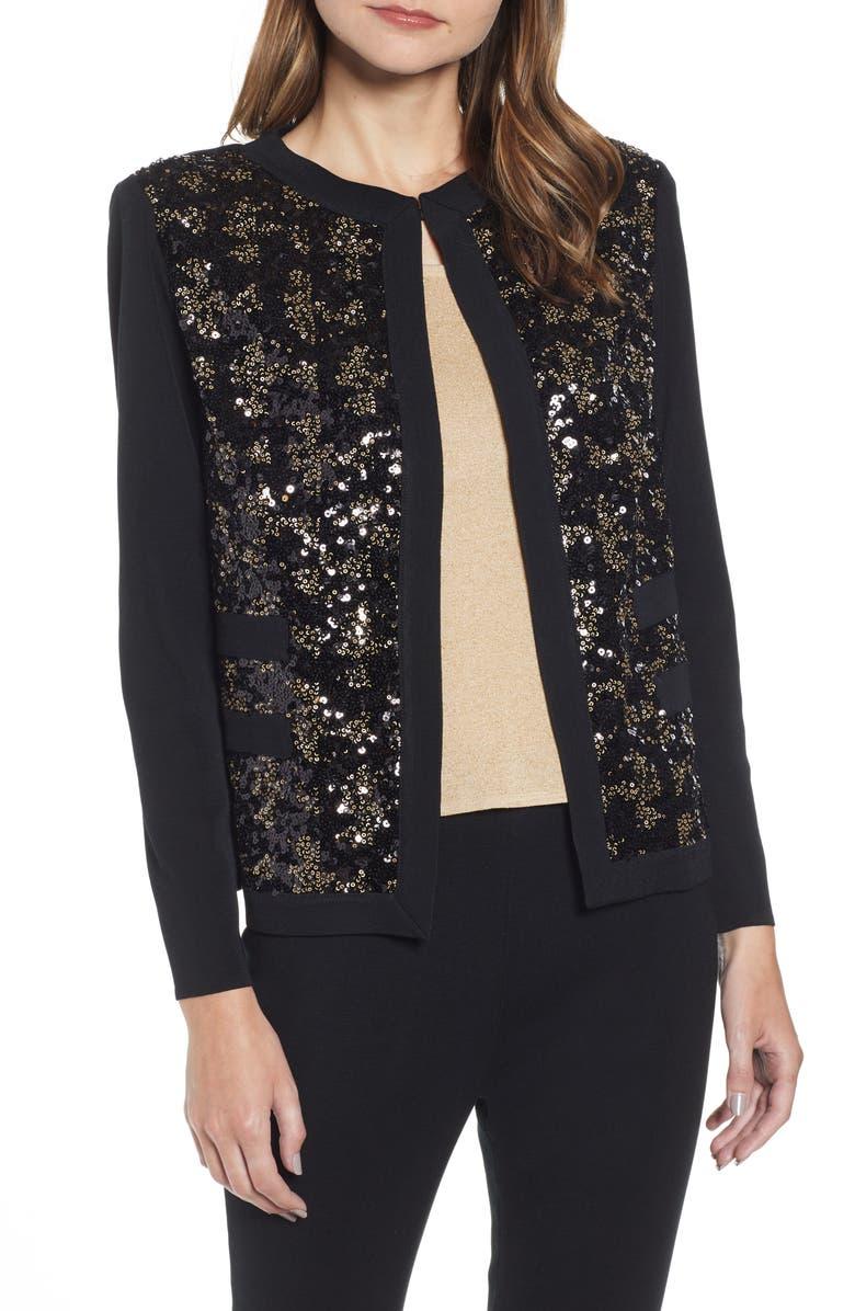 MING WANG Sequin Front Knit Jacket, Main, color, 040