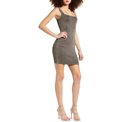 Leith Sleeveless Metallic Sweater Dress, Metallic