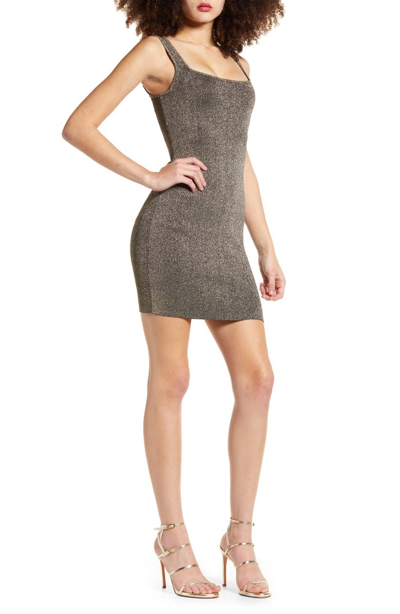 LEITH Sleeveless Metallic Sweater Dress, Main, color, METALLIC GOLD