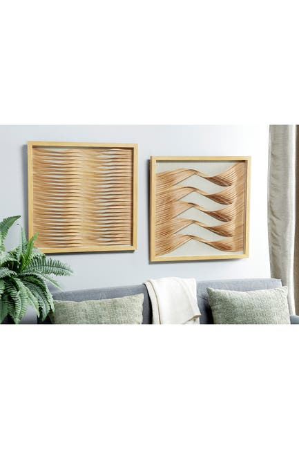 "Image of Willow Row 23.5"" Square Framed Beige & Natural Wood Ribbon Shadow Boxes Wall Art - Set of 2"