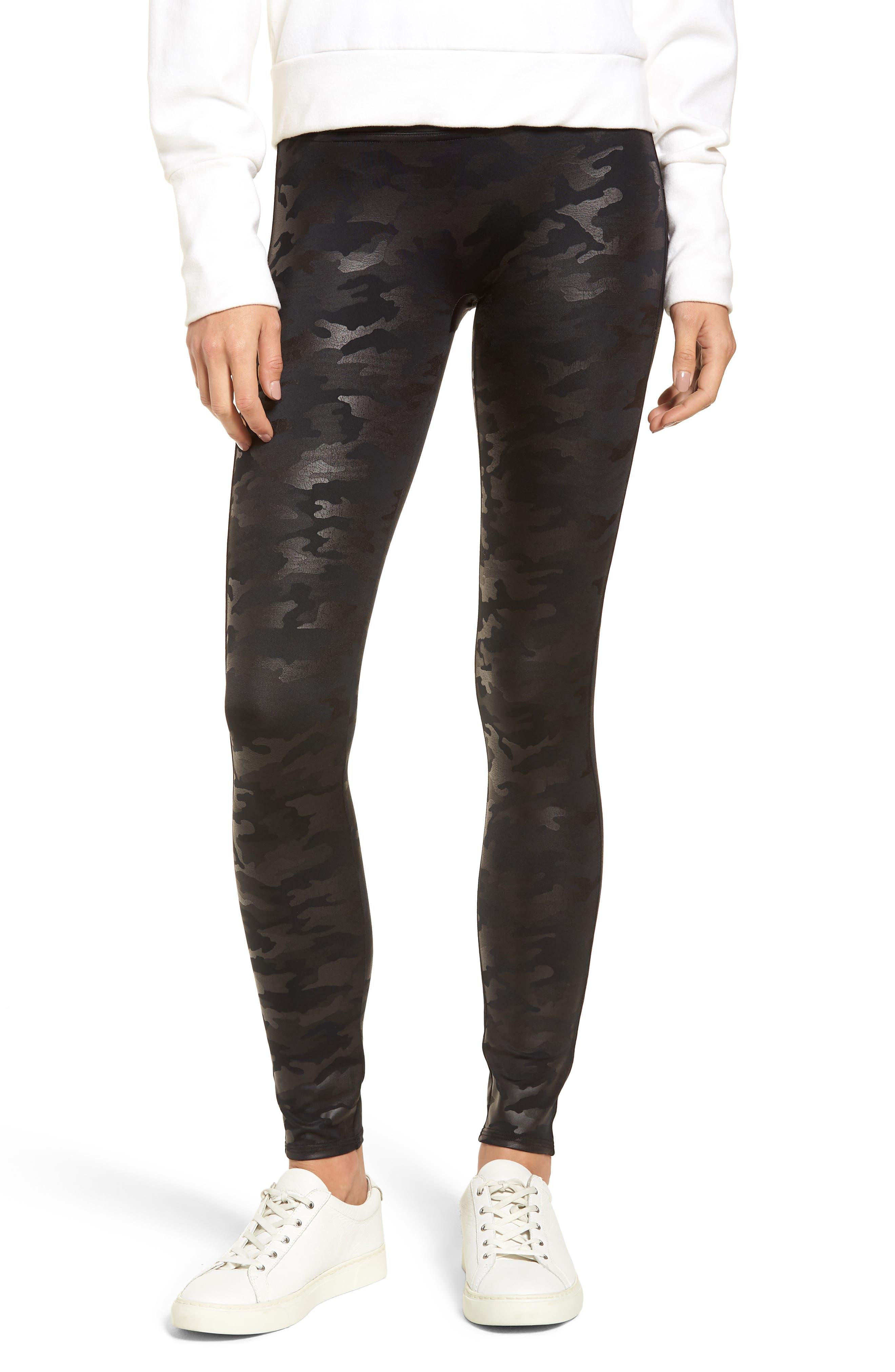 Camo Faux Leather Leggings, Main, color, MATTE BLK CAMO