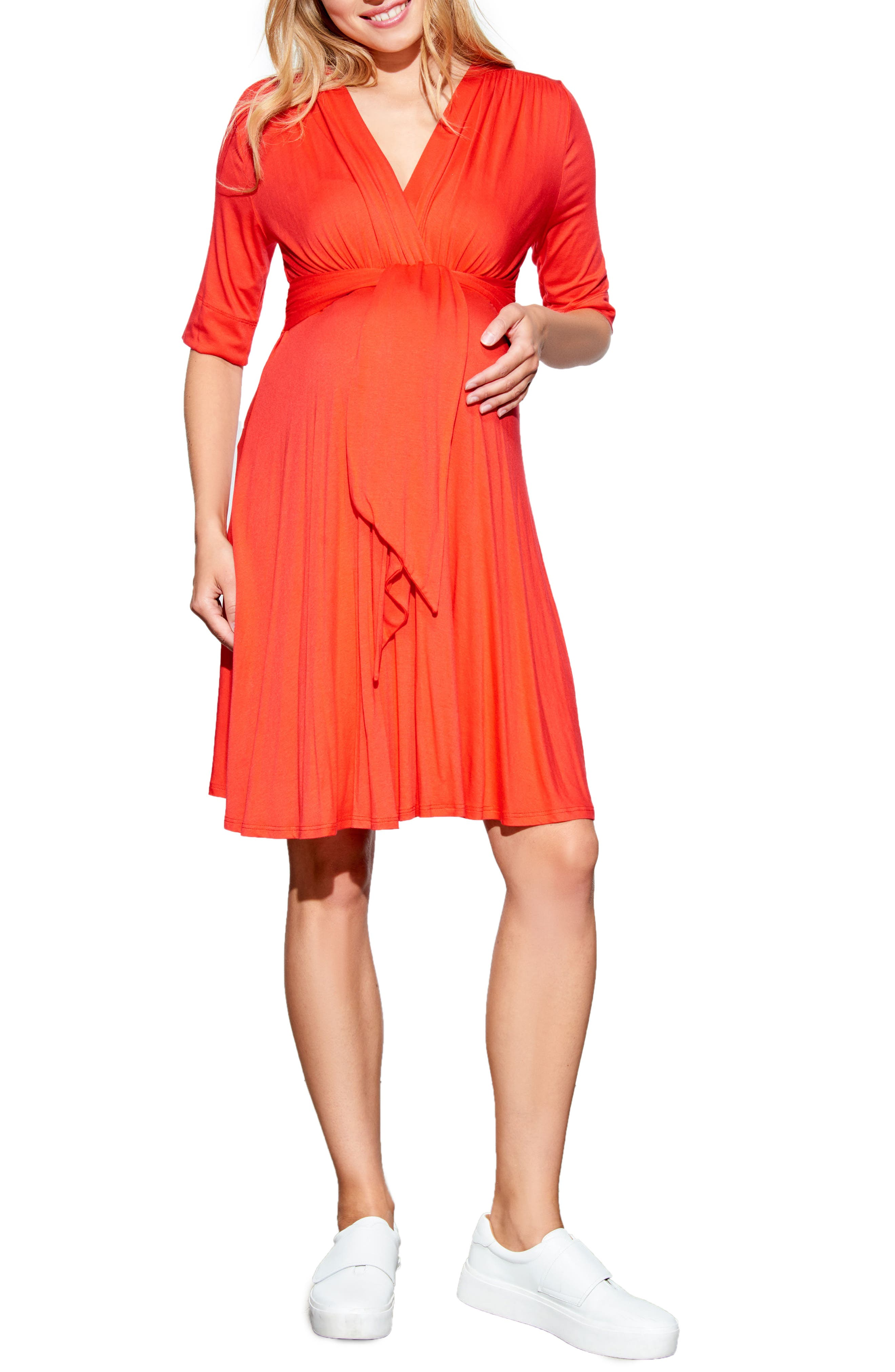 Maternal America Tie Waist Maternity Dress, Red