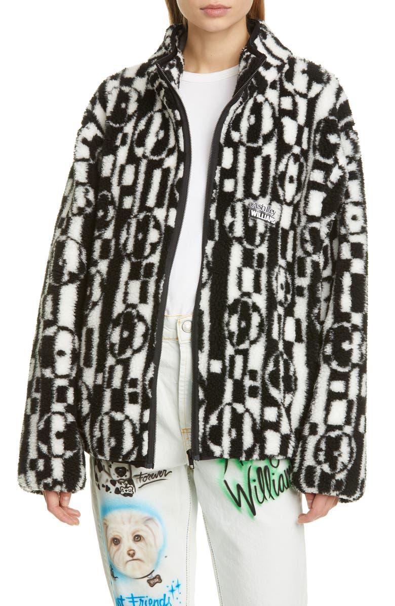 ASHLEY WILLIAMS Juju Check Floral Zip Fleece Jacket, Main, color, CHECKED FLOWER