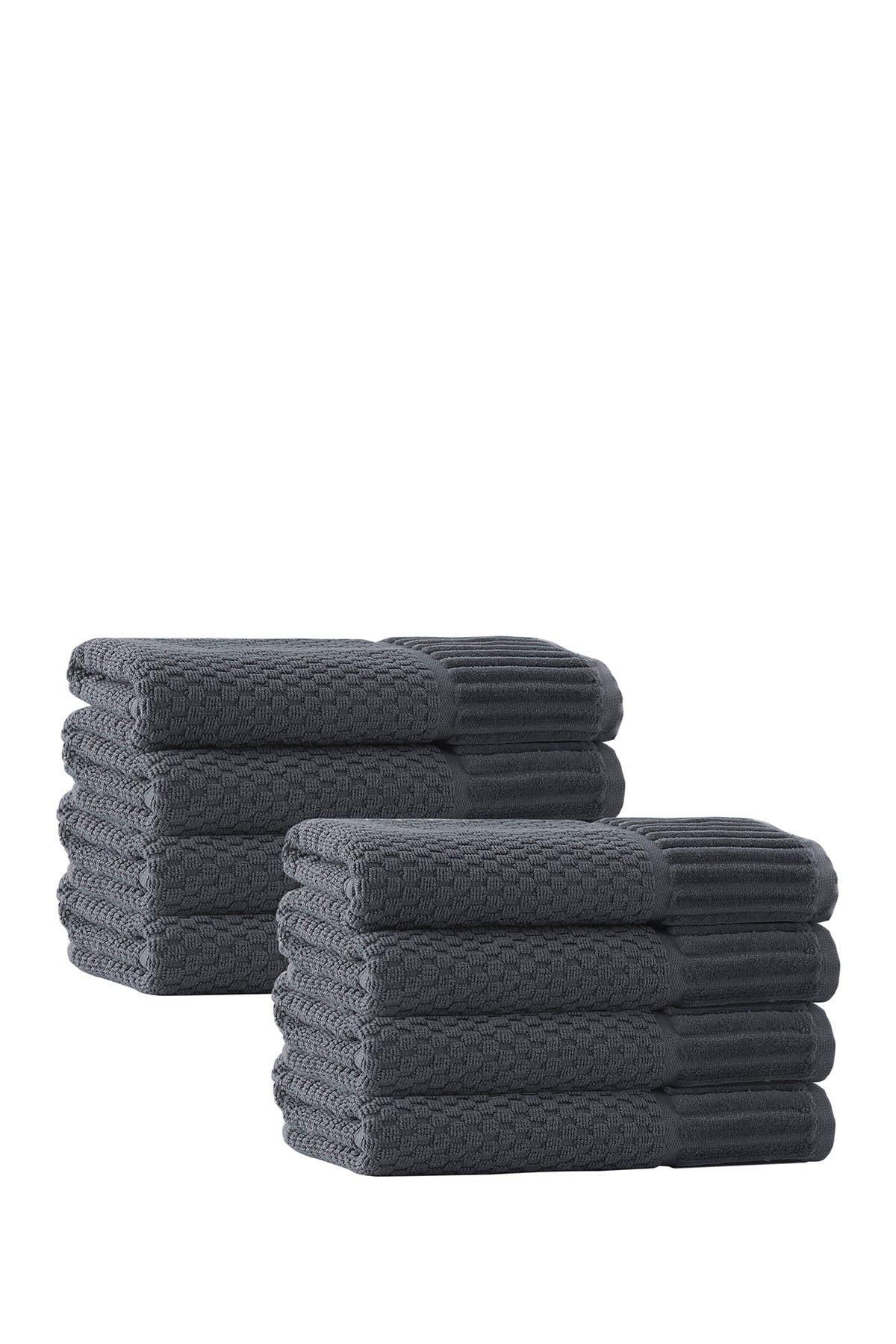 Image of ENCHANTE HOME Timaru Turkish Cotton Hand Towel - Anthracite - Set of 8