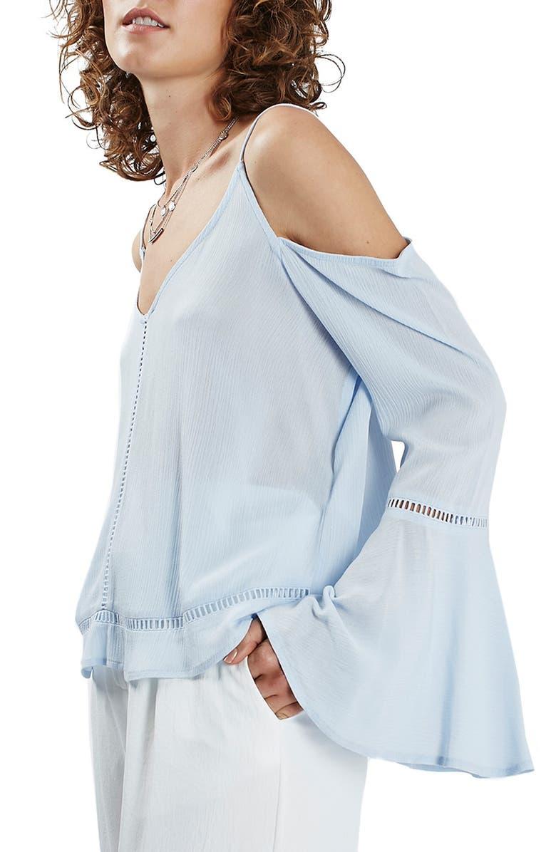 TOPSHOP Bell Sleeve Cold Shoulder Top, Main, color, 400