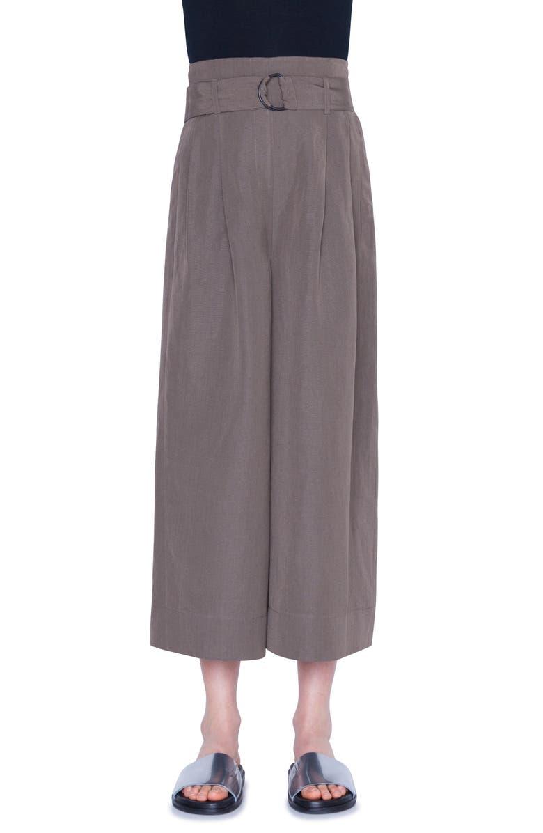 AKRIS PUNTO Fiorella Belted High Waist Wide Leg Crop Pants, Main, color, DARK KHAKI