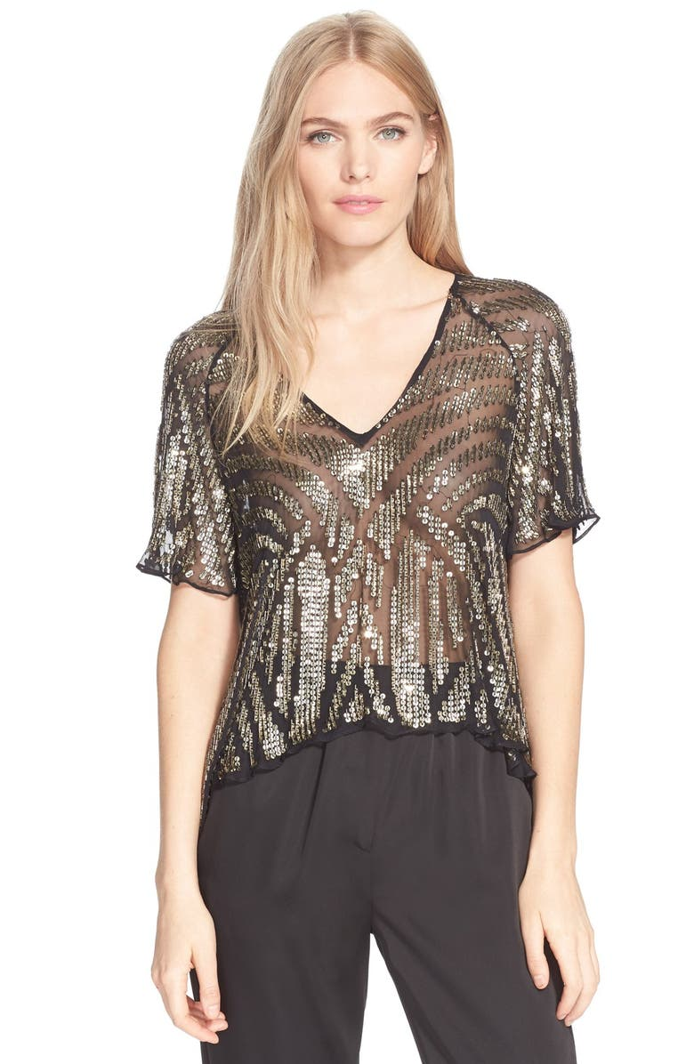 PARKER 'Lucas' Sheer Embellished Silk Top, Main, color, 220