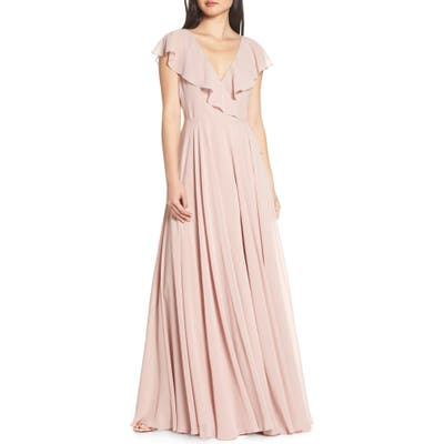 Jenny Yoo Faye Ruffle Wrap Chiffon Evening Dress, Pink