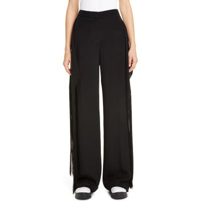 Stella Mccartney Fringe Panel Silk Wide Leg Pants