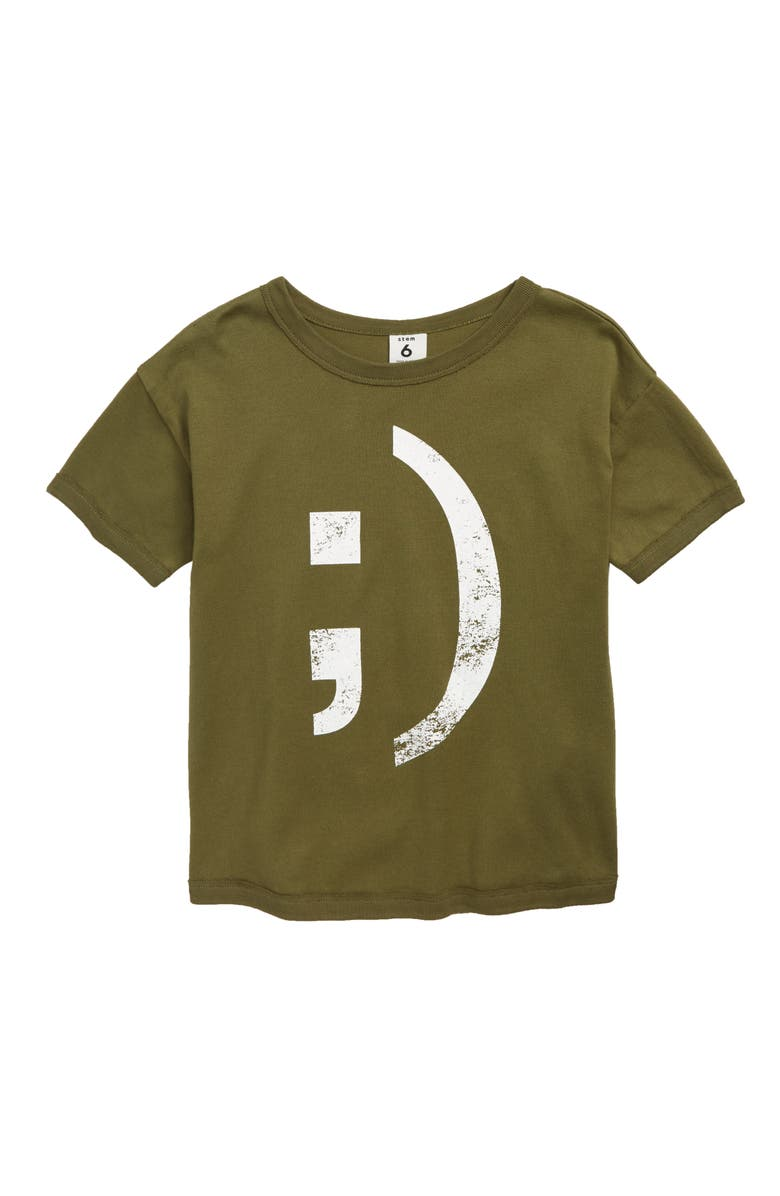 STEM Enzo Graphic T-Shirt, Main, color, OLIVE BRANCH SMILE