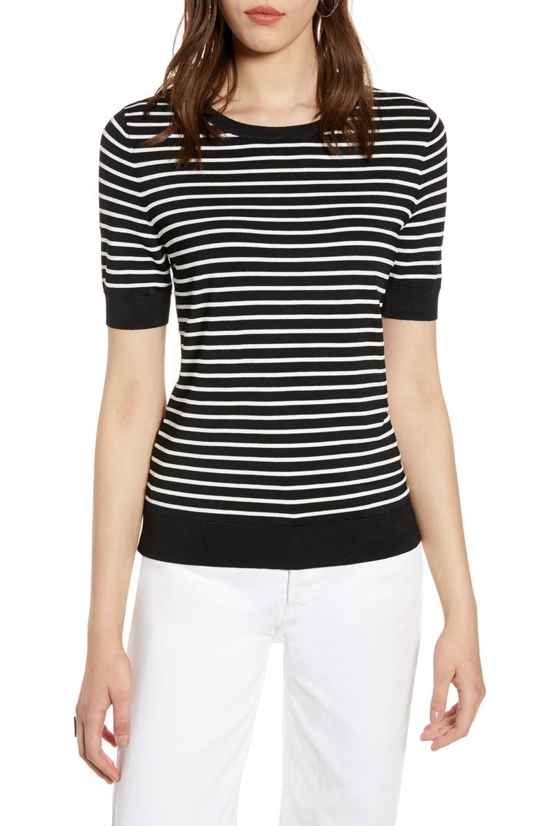 HALOGEN<SUP>®</SUP> Stripe Sweater, Main, color, BLACK- IVORY STRIPE