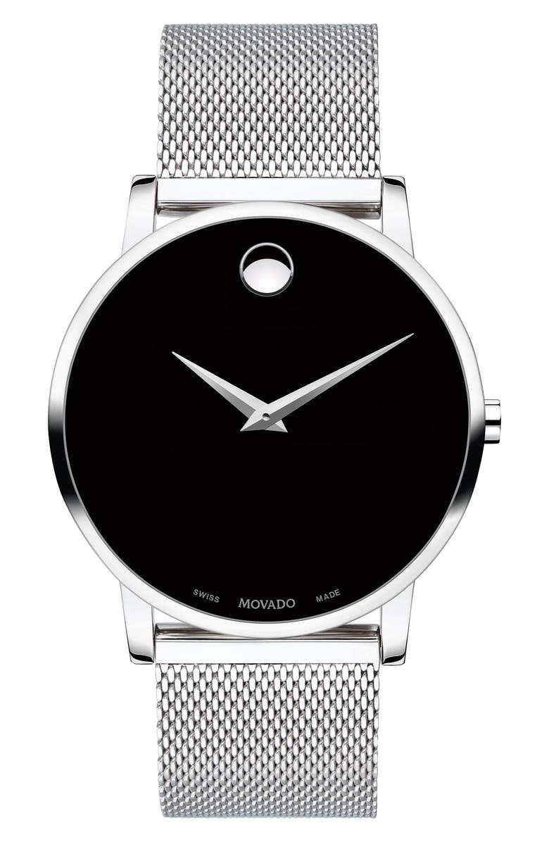 MOVADO Museum Mesh Strap Watch, 40mm, Main, color, SILVER/ BLACK/ SILVER