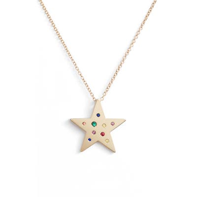 Ef Collection Rainbow Speckled Star Pendant Necklace