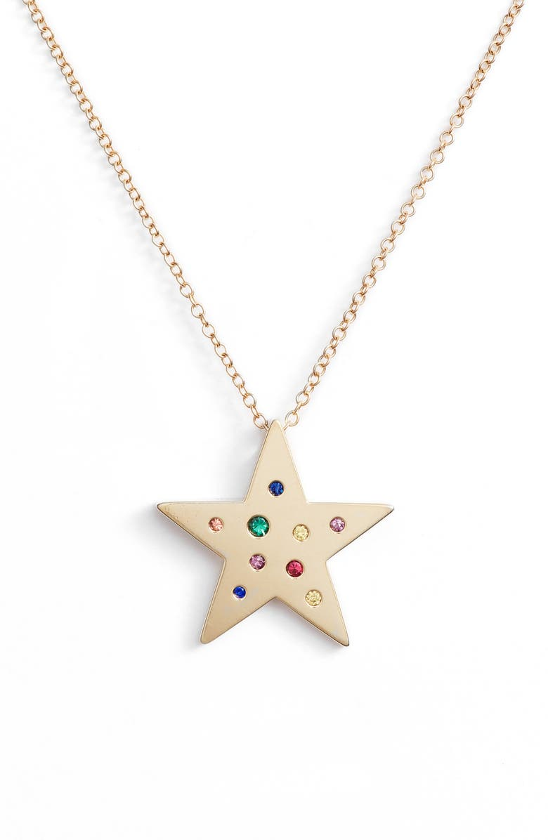 EF COLLECTION Rainbow Speckled Star Pendant Necklace, Main, color, YELLOW GOLD