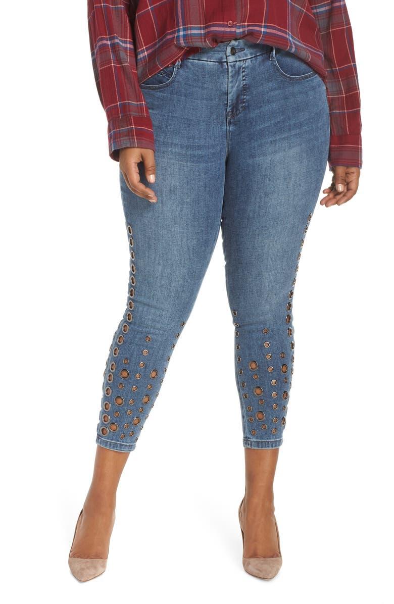 YSJ Grommet Ankle Skinny Jeans, Main, color, 401