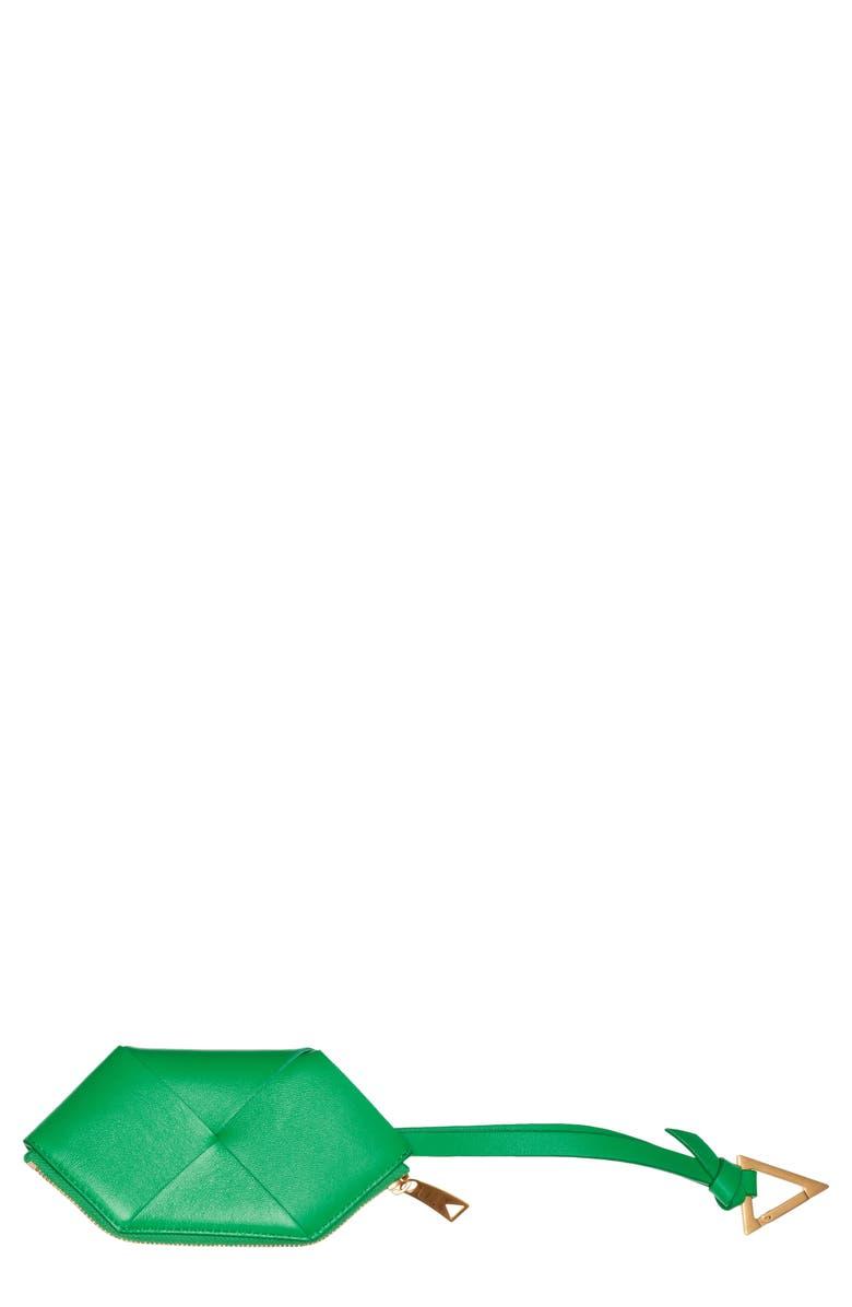BOTTEGA VENETA Intrecciato Leather Card Case with Key Chain, Main, color, PARAKEET-GOLD