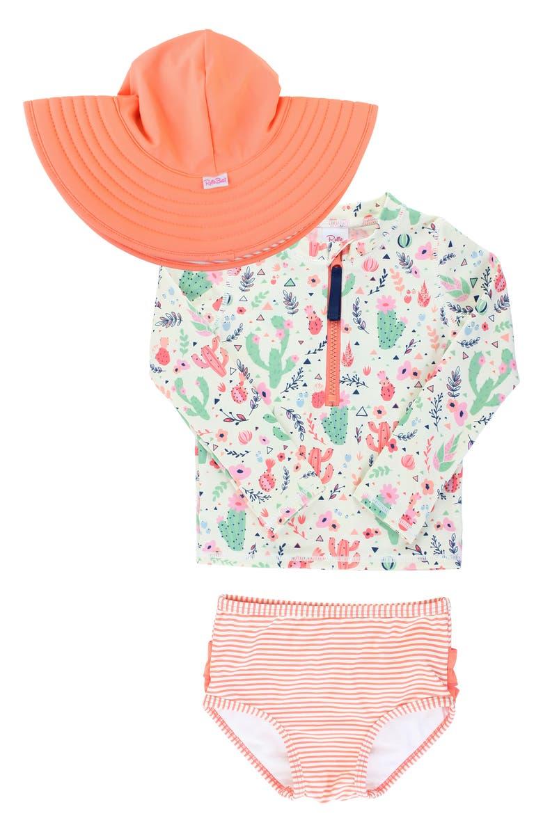 RUFFLEBUTTS Desert Blossoms Two-Piece Rashguard Swimsuit & Floppy Hat Set, Main, color, WHITE