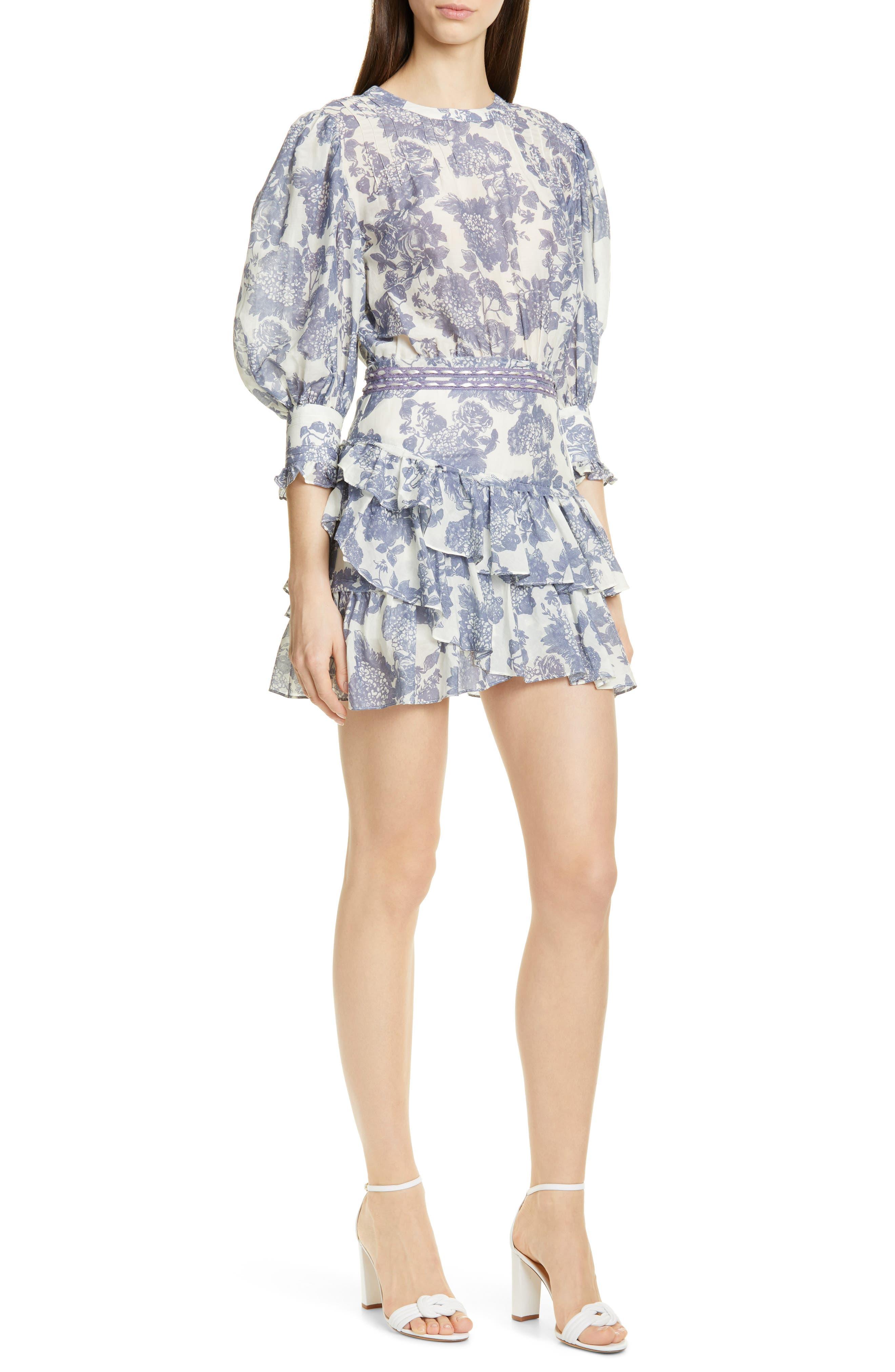 Loveshackfancy Lorelei Floral Minidress, Grey