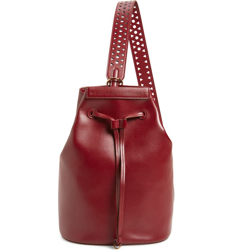 STELLA MCCARTNEY Flo Convertible Faux Leather Backpack, Main, color, WINE