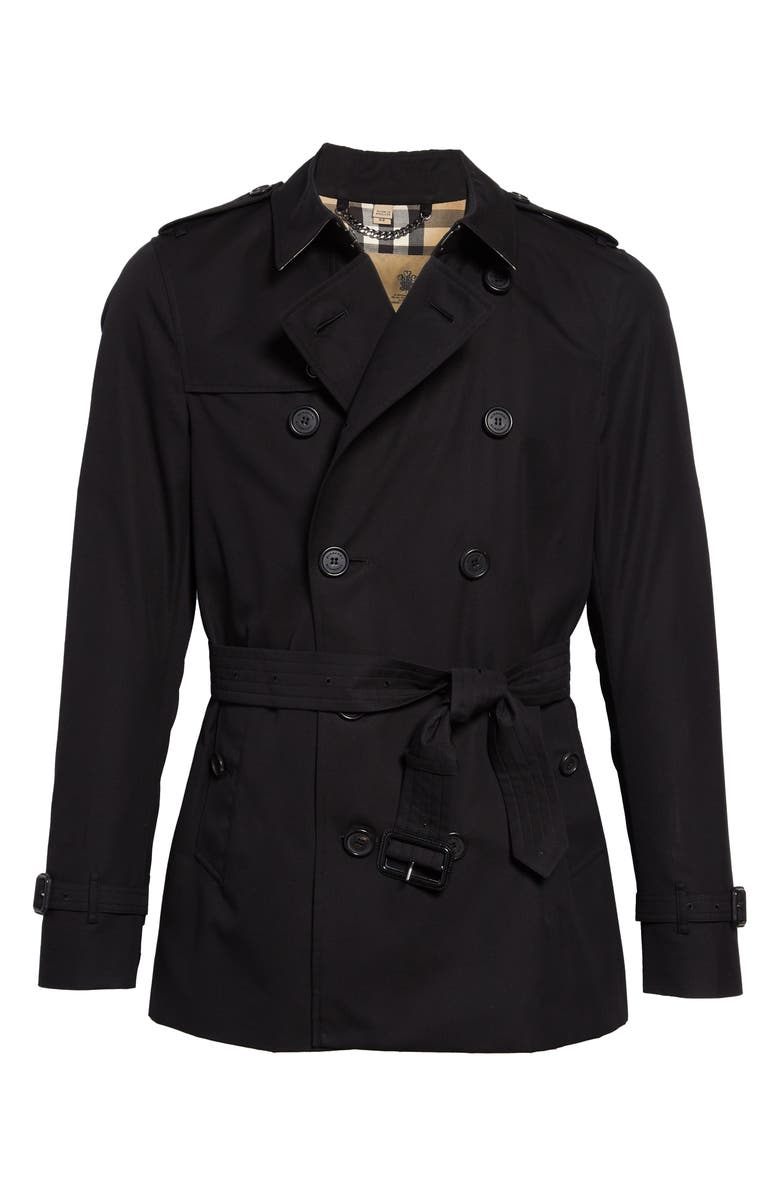 Burberry Men's Heritage Black Sandringham Short Trench