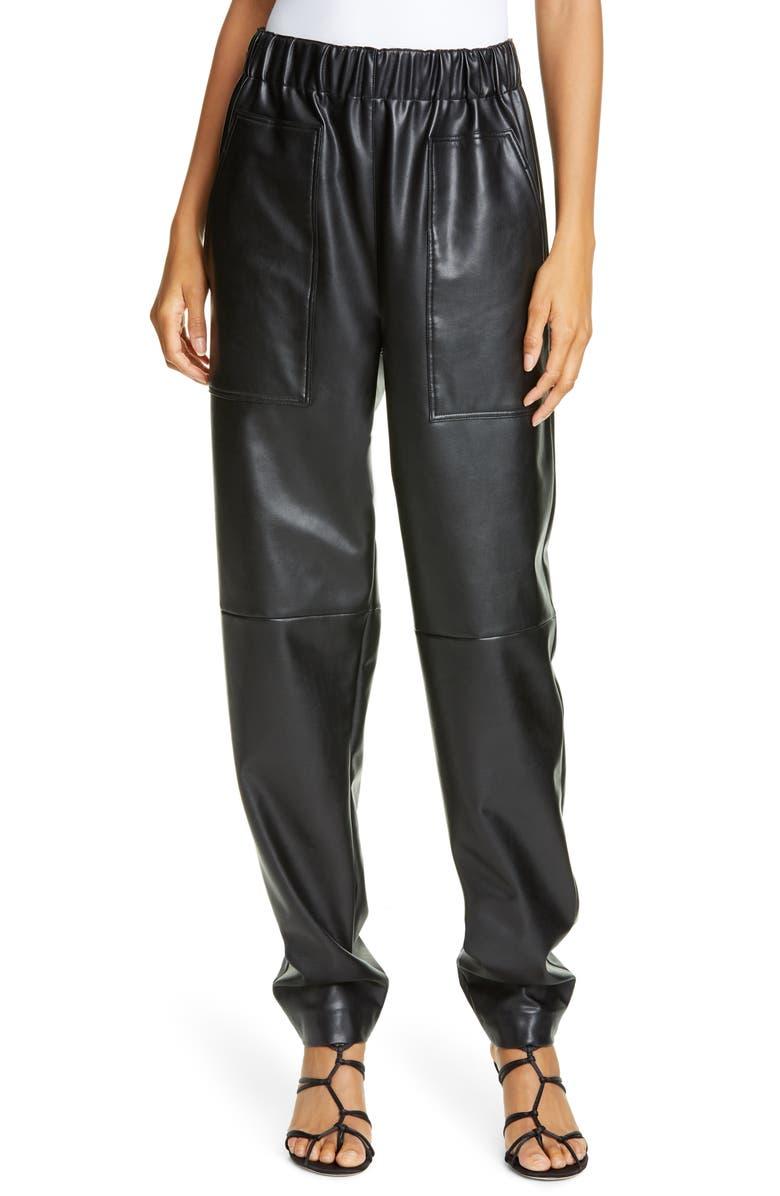 TIBI Faux Leather Jogger Pants, Main, color, BLACK