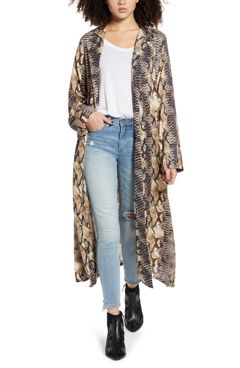 ANGIE Snake Print Duster, Main, color, CREAM