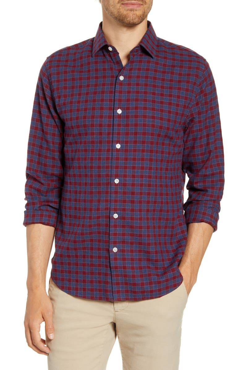 BONOBOS Unbutton Down Slim Fit Button-Up Shirt, Main, color, CARLOS CHECK -DARK MOONDUST